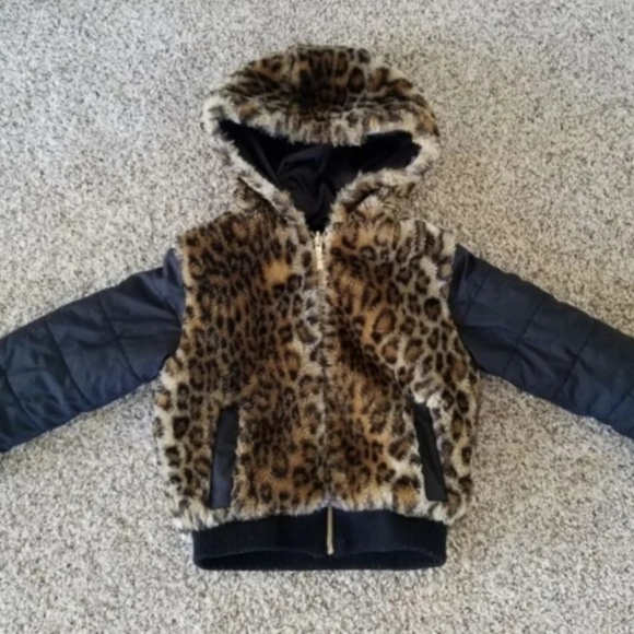 Limited Too girls Fleece Bomber With Warm Faux Fur Cheetah Lining